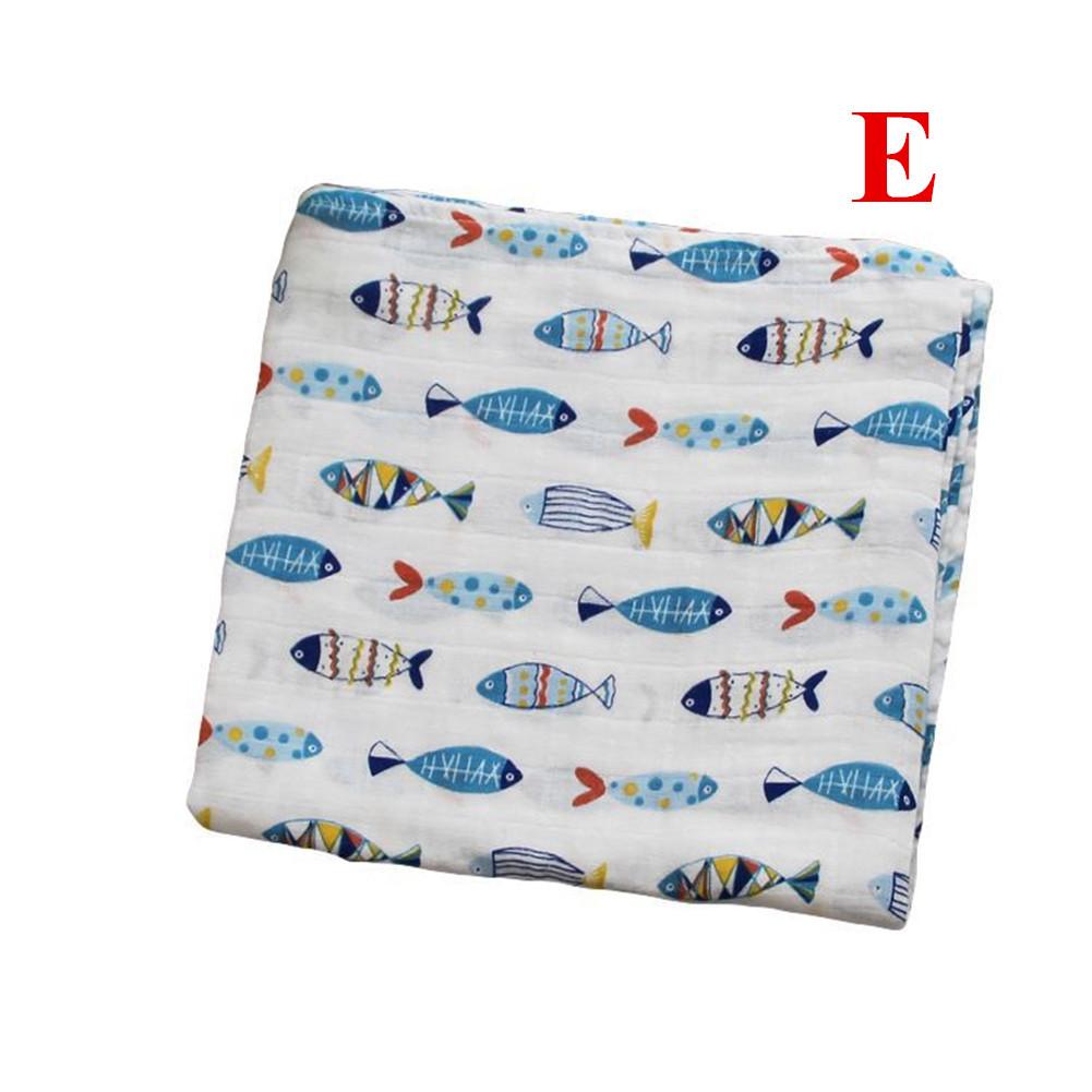 Baby Cotton 2-layer Bath Towel Newborn Towel Stroller Seat Blanket E_120*120