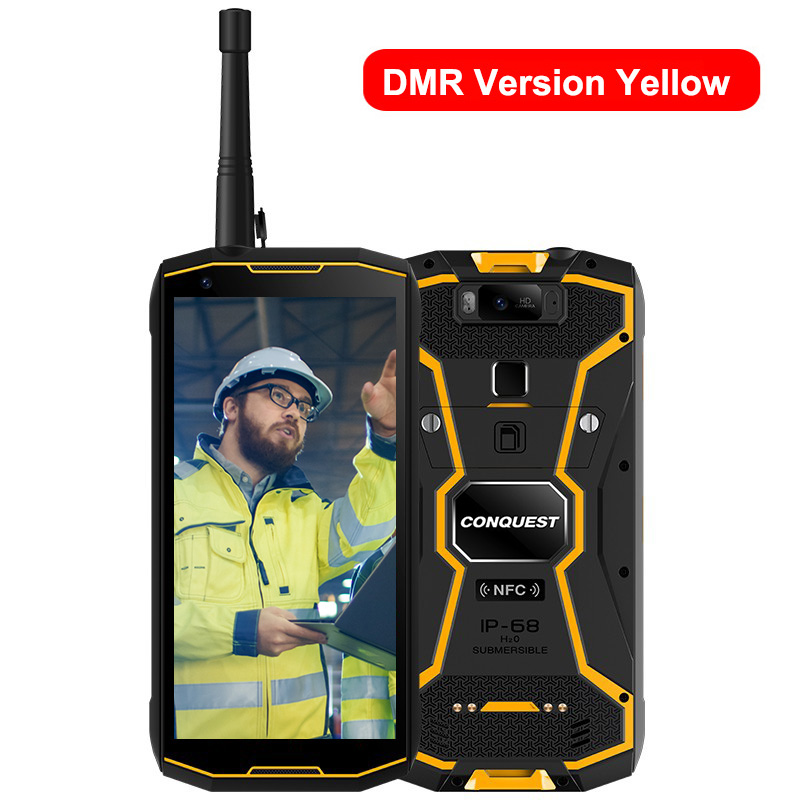Original CONQUEST S12 Pro Phone Safety Explosion Proof IP68 4G Mobile Phone 8000mAh Android Rugged Smartphone EU Plug yellow_6+128GB with intercom