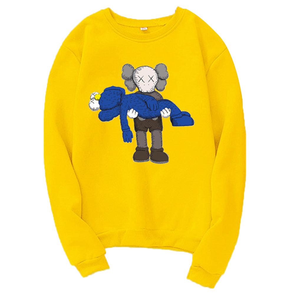 Men Women Loose Cute Cartoon Printing Round Collar Fleece Sweatshirts yellow_M