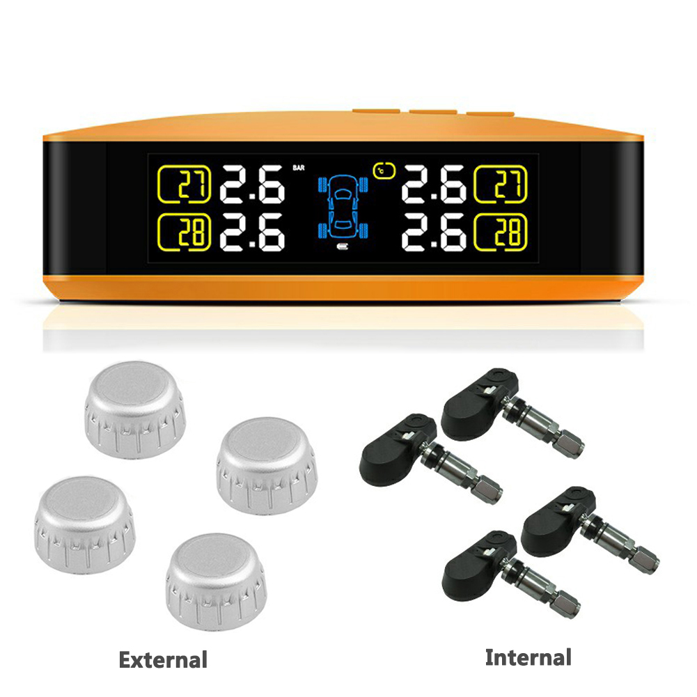 U8 Wireless TPMS Car Tire Pressure LCD Monitoring System with 4 External Sensors USB Charging Built-in Lithium Battery Tire Pressure Monitor U8-WF Orange_External