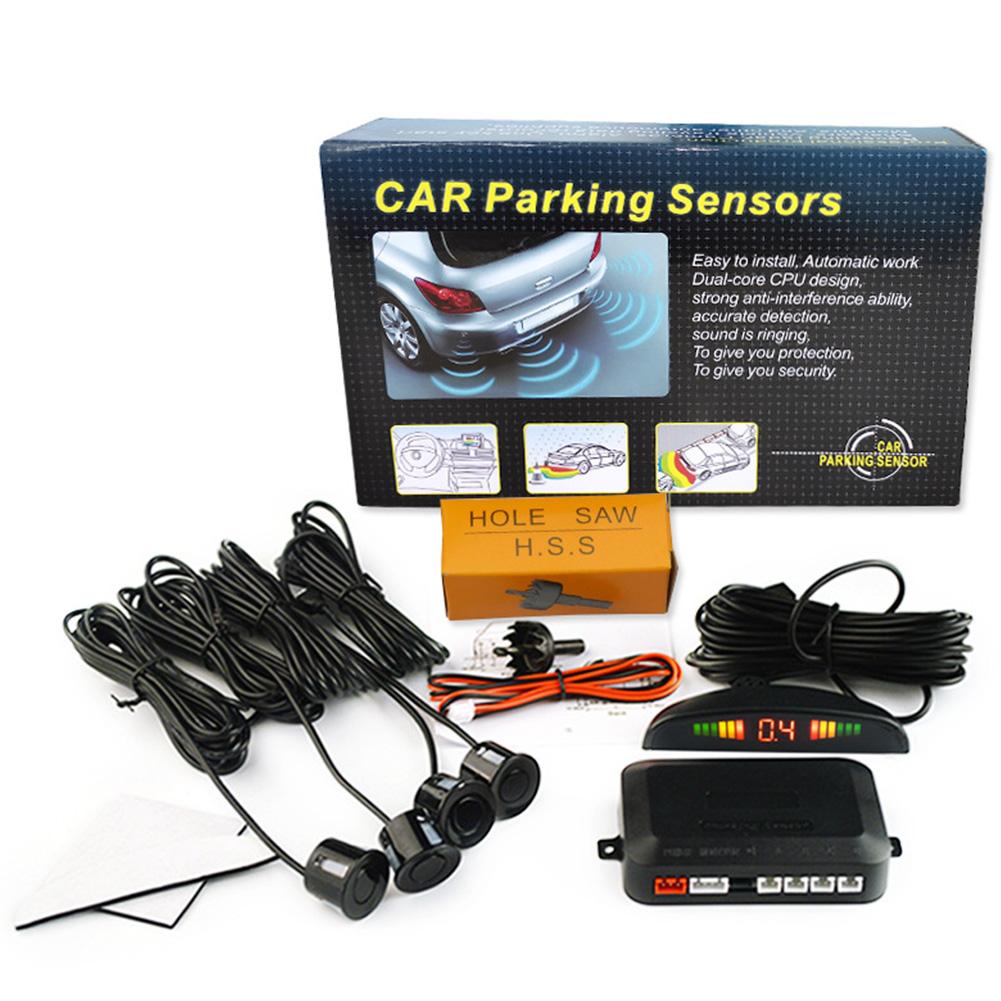 Car Parking Sensor Kit Rear Reverse 12V 4 Sensors Buzzer Sensor Audio Alarm Probe black