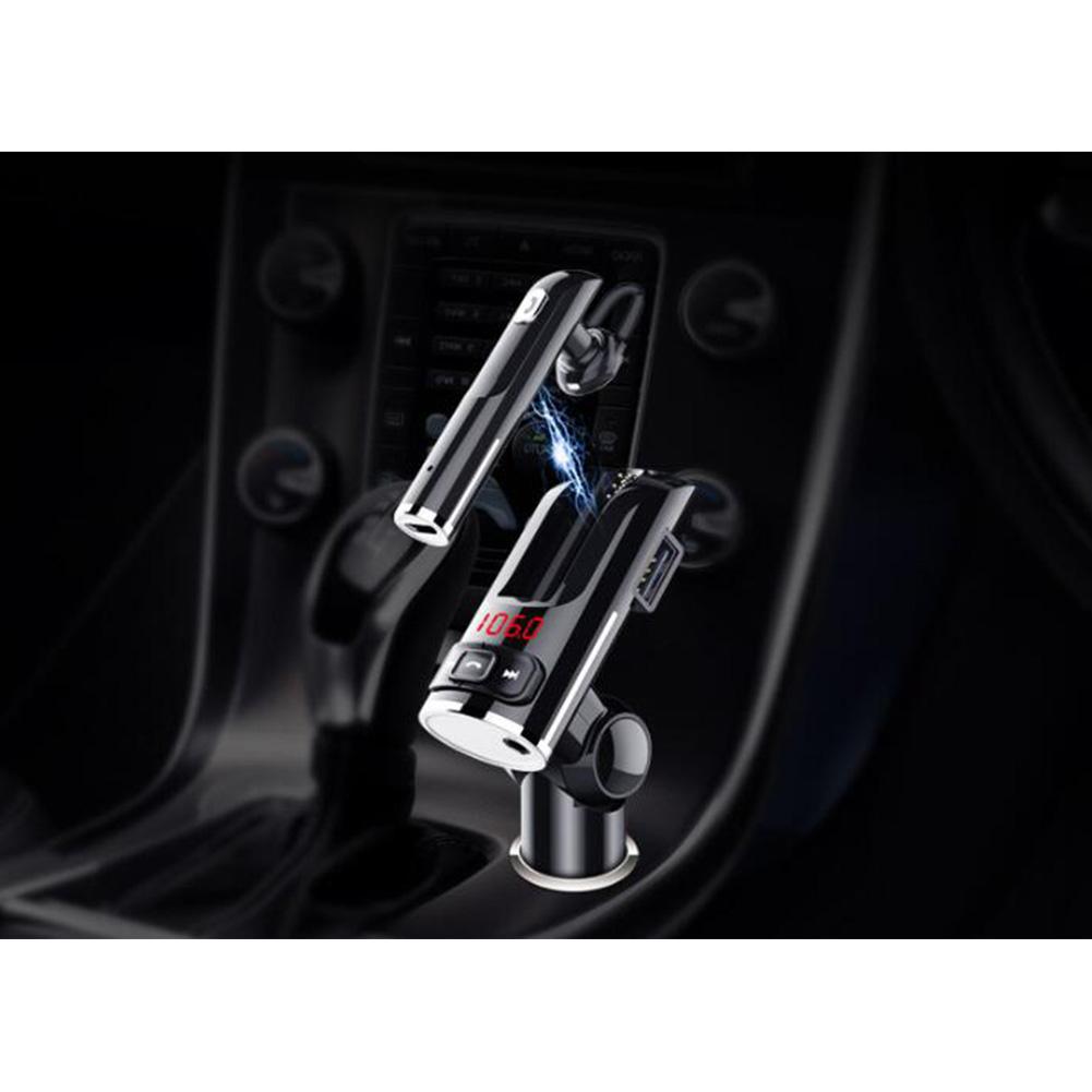 Car Bluetooth Headset Bluetooth Receiver FM Transmitter Car Kit Wireless Handsfree Speaker Headphone black