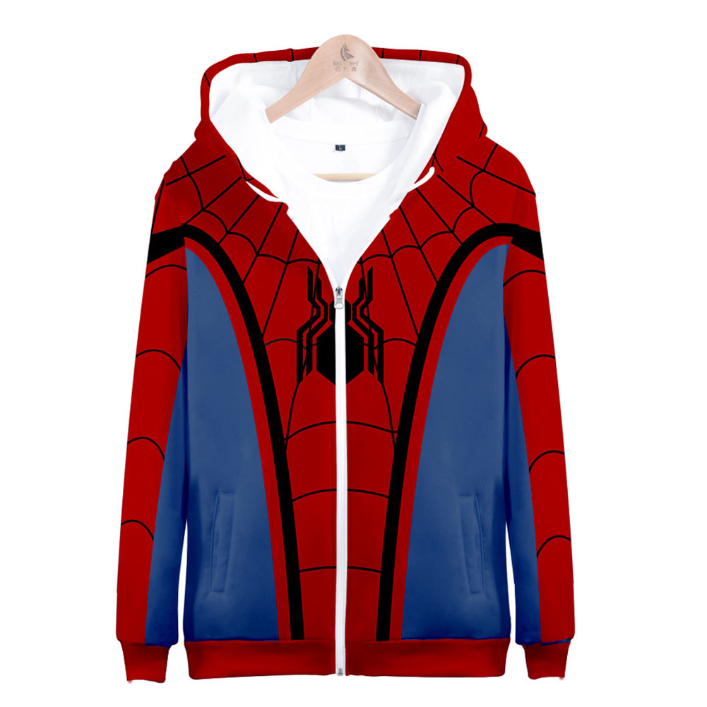 Men Women Simple Casual Spiderman Heroes Printing Hooded Zipper Sweater Style B_S