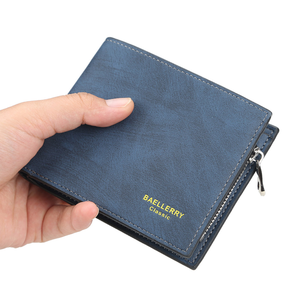 Men Short Wallet with Card Slots 2 Floding Leather Fashion Casual Wallet  blue