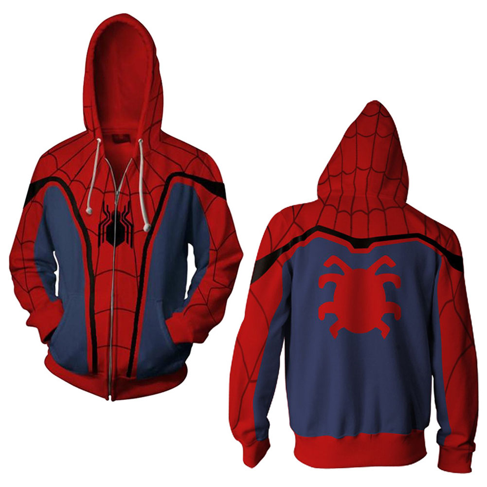 Men Women Simple Casual Spiderman Heroes Printing Hooded Zipper Sweater Style D_M
