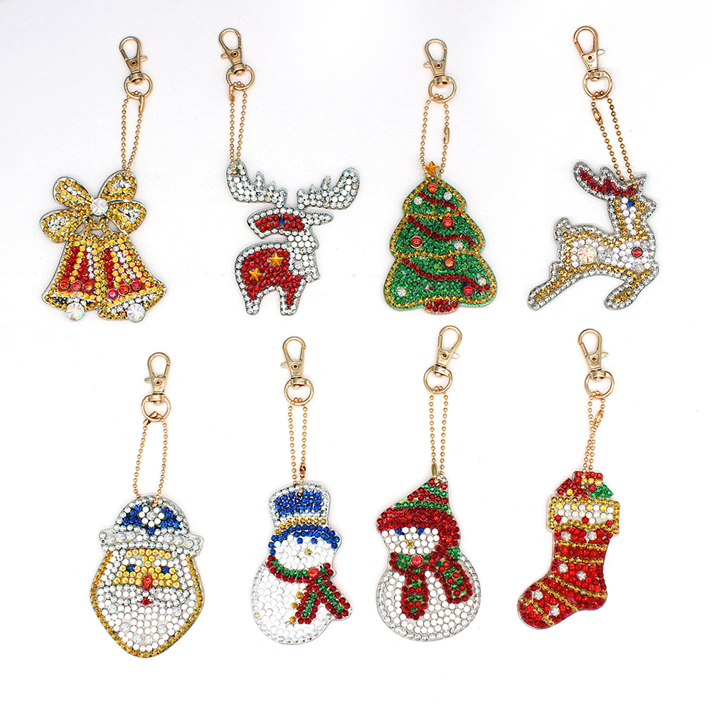 8Pcs DIY Christmas Series Diamond Painting Keychain Hanging Pendant 8 pcs
