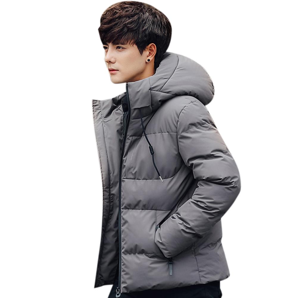Men Solid Color Winter Coat Hooded Short Thicken Winter Warm Coat Cotton Jacket Dark gray_XXL