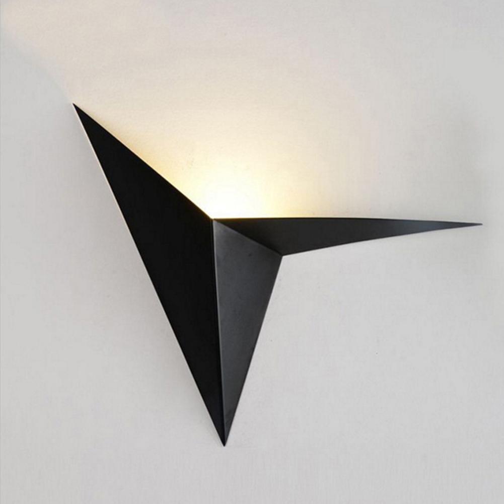 Modern LED Wall Lamp Indoor Creative Triangle Light Simple Bedroom Sanctum Aisle Stair Lighting Warm White Light Black_warm light