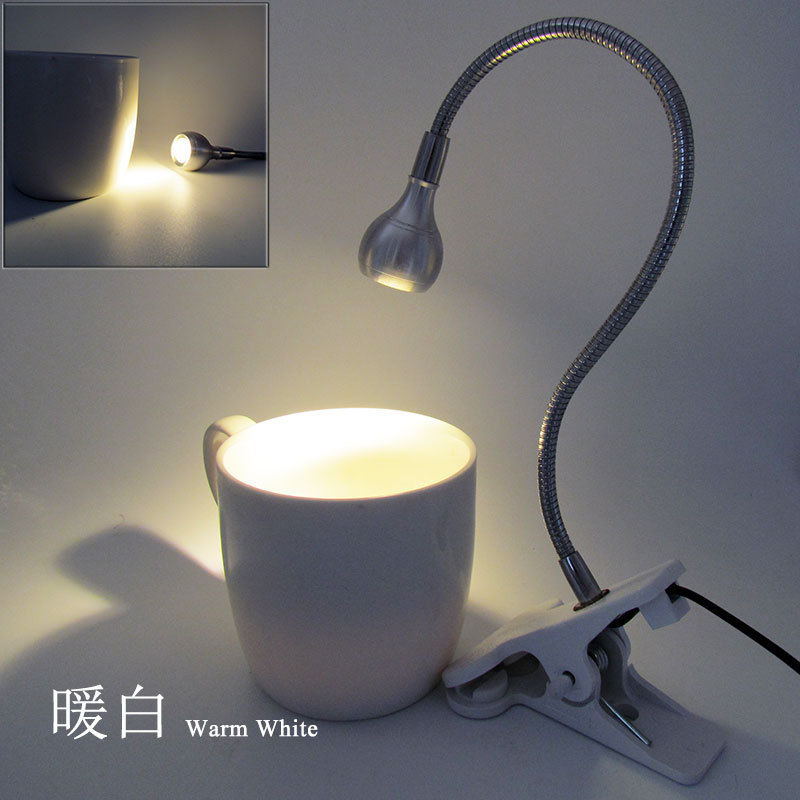 5V 3W USB LED Clip Table Light with Flexible Goose Neck Cute Bed Lamp Decoration Eye Protection silver shell warm white light