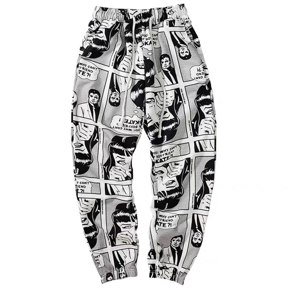 [Indonesia Direct] Hip Hop Sport Slacks for Men Women Bound Feet Comic Pattern Ninth Pants Comic pants gray - kN_L (within 57.5 kg)