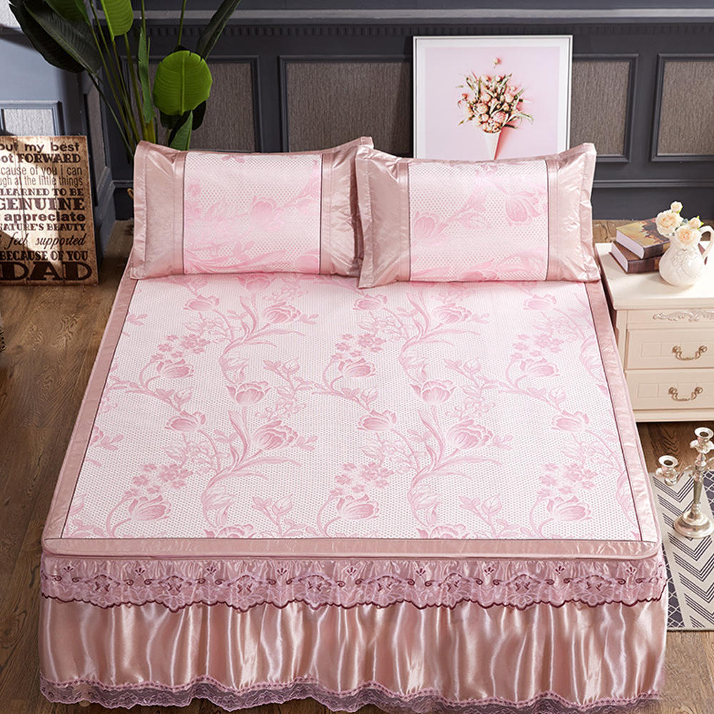 3Pcs/Set Detachable Foldable Sleeping Mat with Zipper Jacquard Pillow Case Set  pink