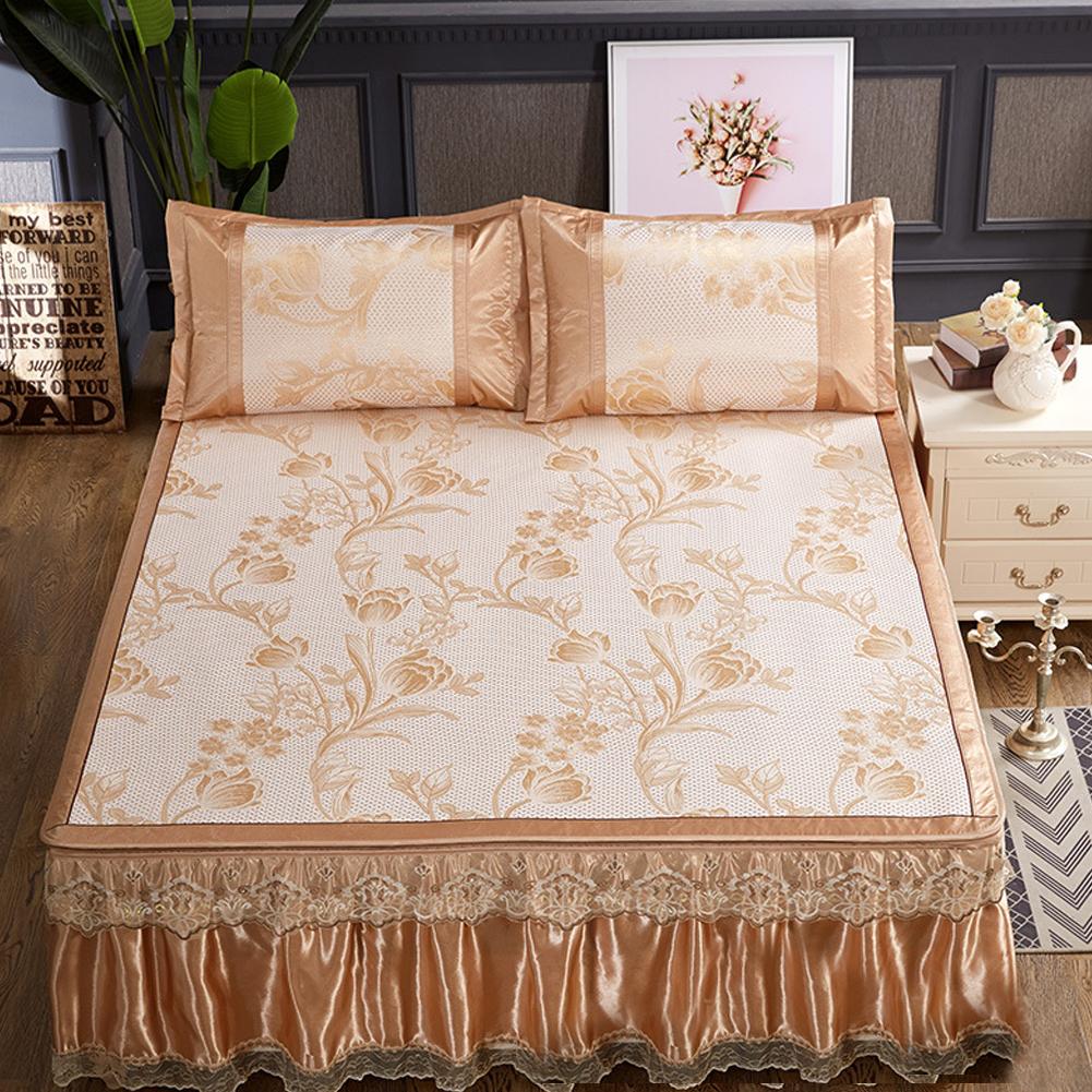 3Pcs/Set Detachable Foldable Sleeping Mat with Zipper Jacquard Pillow Case Set  gold