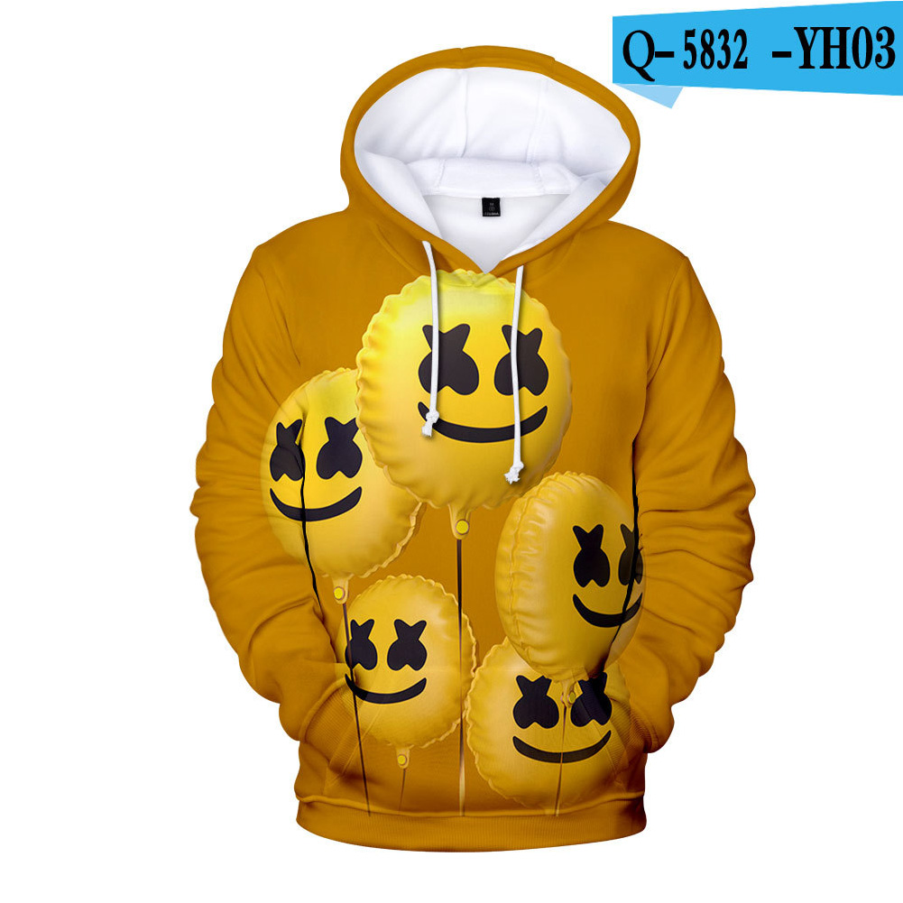 Men Women DJ Marshmello 3D Print Small Happy Face Balloon Long Sleeve Sport Hoodies Sweatshirt B style_XL