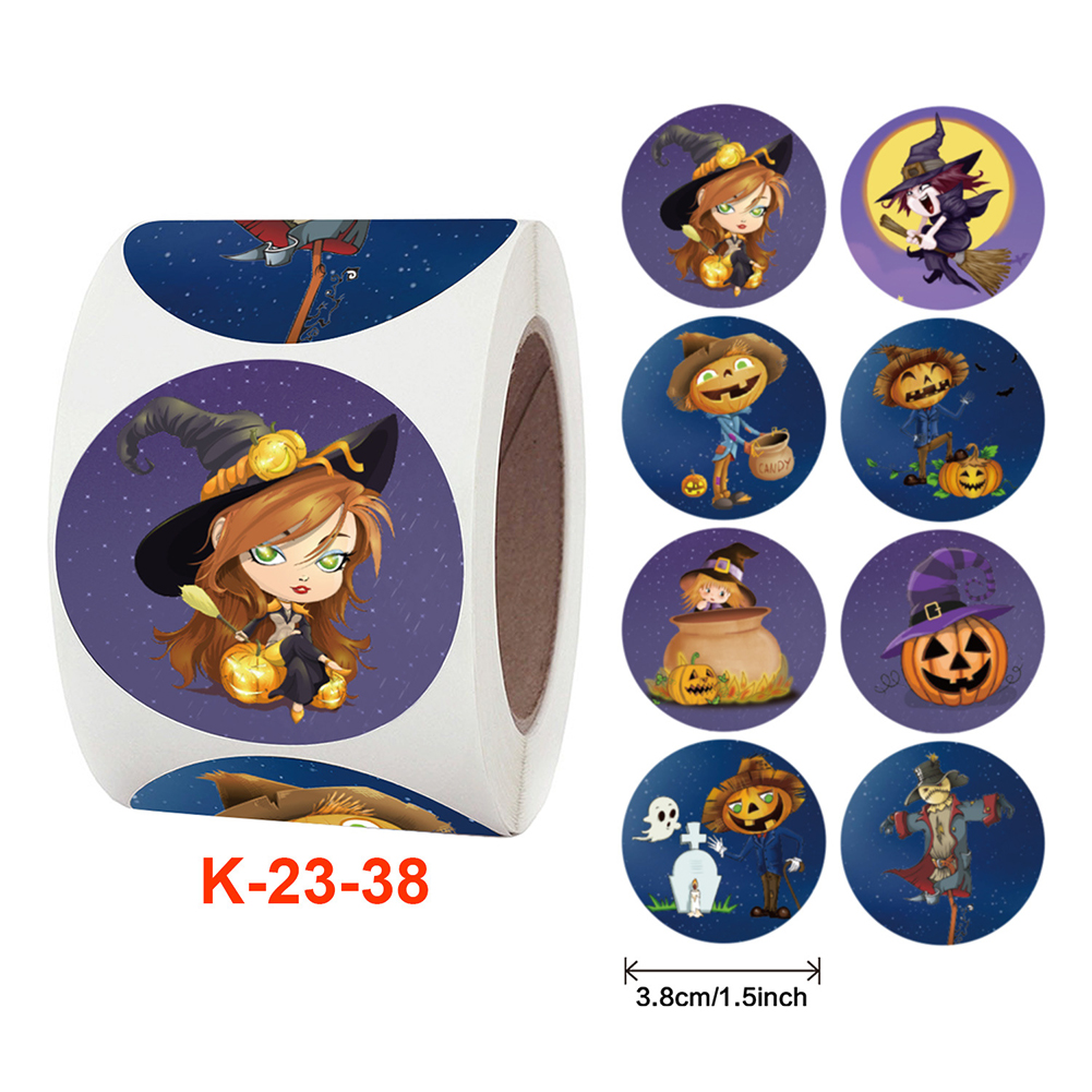 500pcs/roll Self-adhesive Label Sticker Halloween Pumpkin Pattern Candy Wrapping  Paper K-23-38_3.8cm / 1.5inch