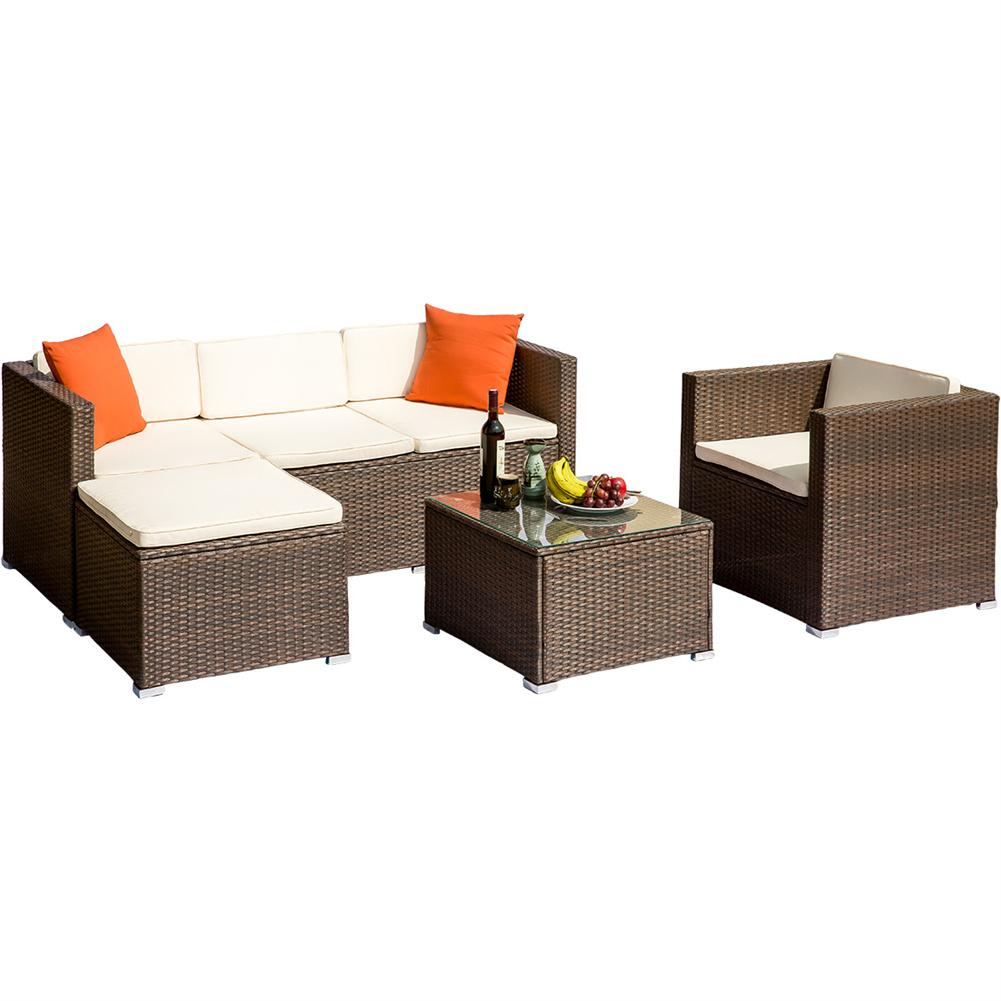 [US Direct] Rattan  Patio  Furniture Set Wicker Sofa Cushioned Sectional Furniture Set Garden Patio Sofa Set Brown
