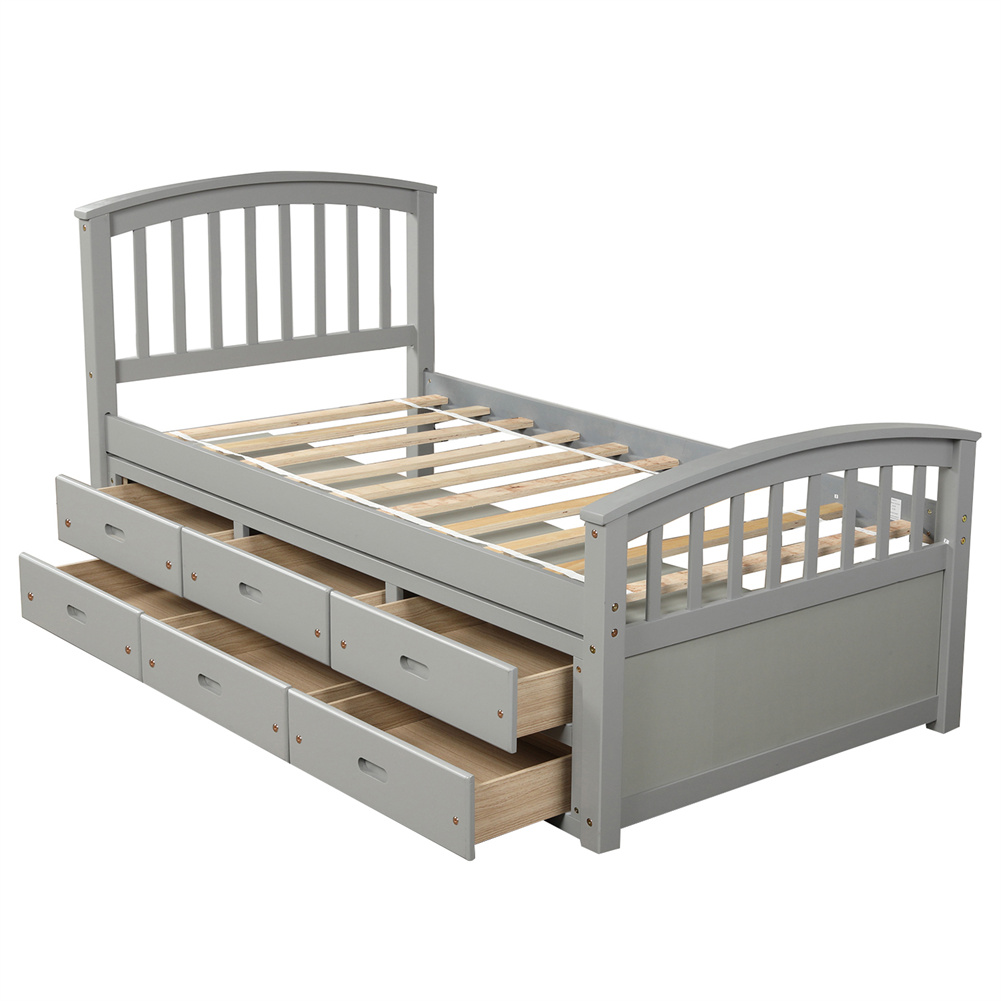 [US Direct] Twin Size Platform Storage  Bed Solid Wood Bed With 6 Drawers Household Furniture White
