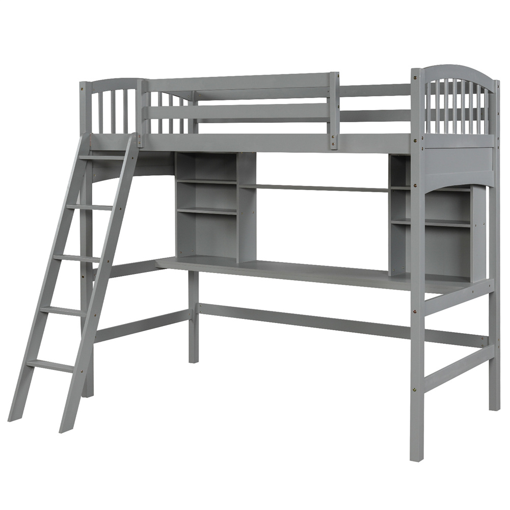 [US Direct] Twin Size Loft  Bed With Storage Shelves+desk+ladder Household Furniture Gray