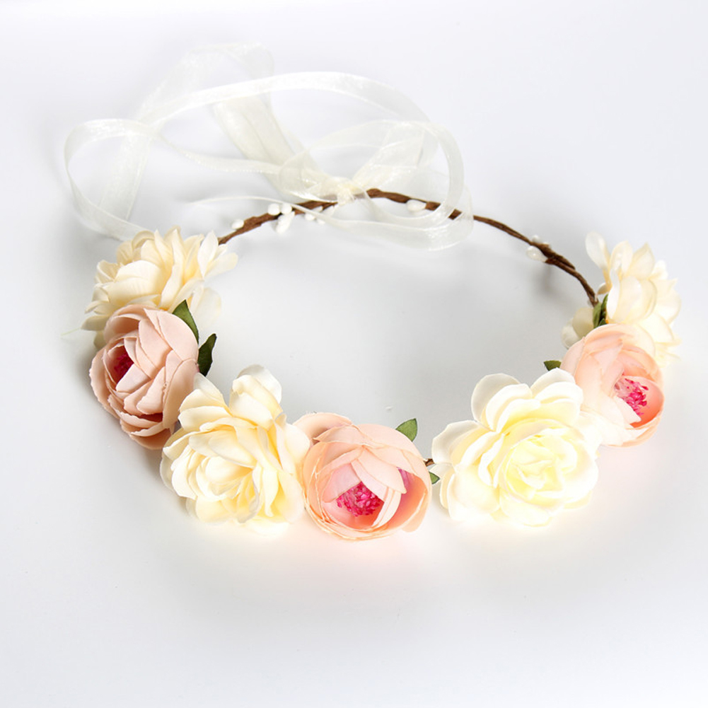 Simulate Flower Garland Headband Floral Head Wreath Wedding Party Headwear Photo Prop khaki