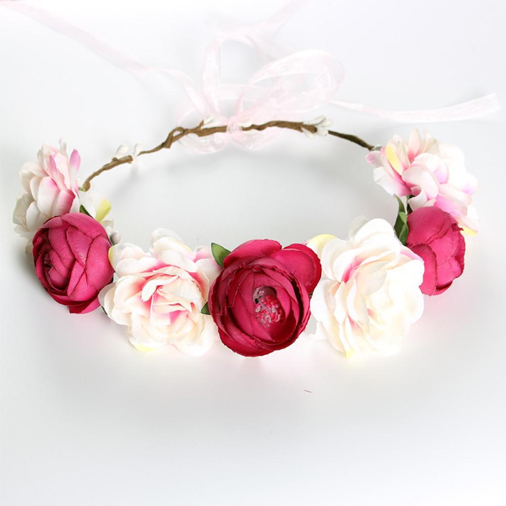 Simulate Flower Garland Headband Floral Head Wreath Wedding Party Headwear Photo Prop rose red