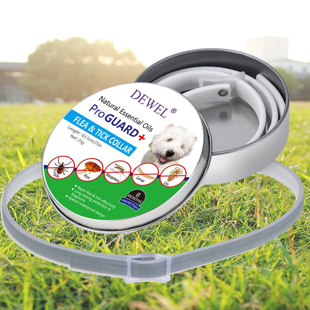 Natural Dog Cat Collar Anti Flea Ticks Mosquitoes Insect Repelling Waterproof Collar gray_L