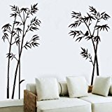 [EU Direct] OneHouse Black Bamboo Wall Decals Home Room Wall Decor Sticker Removable