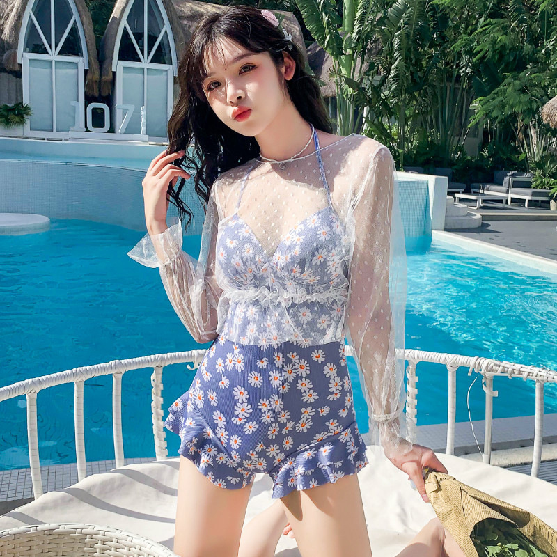 2 Pcs/set Women Swimming Suit Sexy Printing Swimsuit+ Overall grey blue_Int:XL