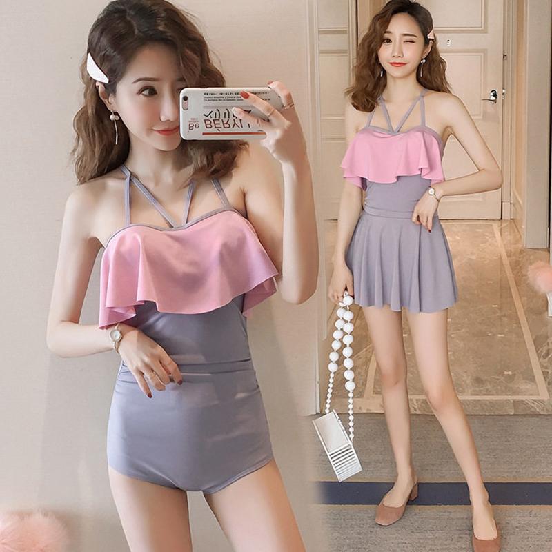 2 Pcs/set Women Swimming Suit Conservative Solid Color Skirt-style Swimsuit Pink_Int:L