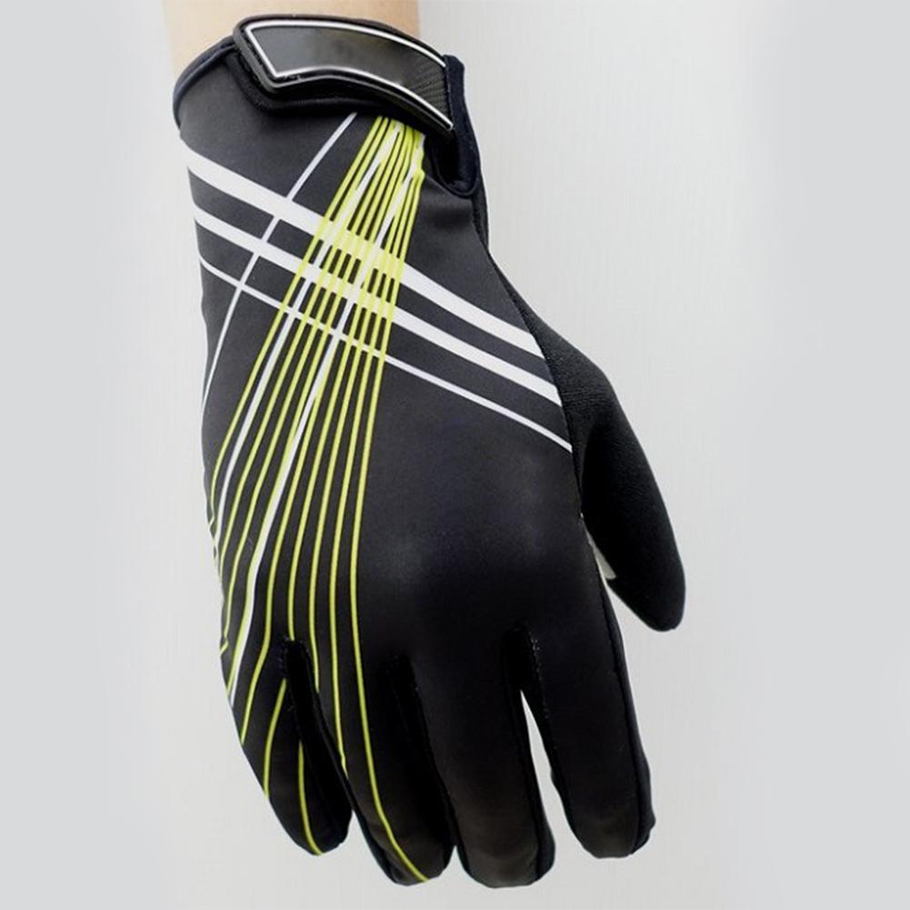 Riding Gloves Antumn Winter Mountain Bike Gloves Touch Screen Bike Gloves Black yellow line_L