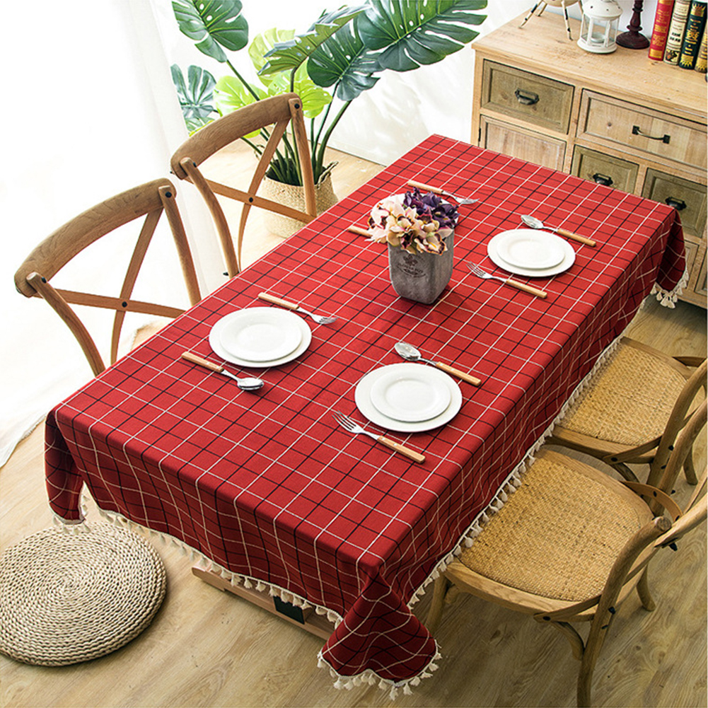 Large Red Plaid Printing with Tassel Lace Rectangle Table Cover Restaurant Home Decor red_120X180CM