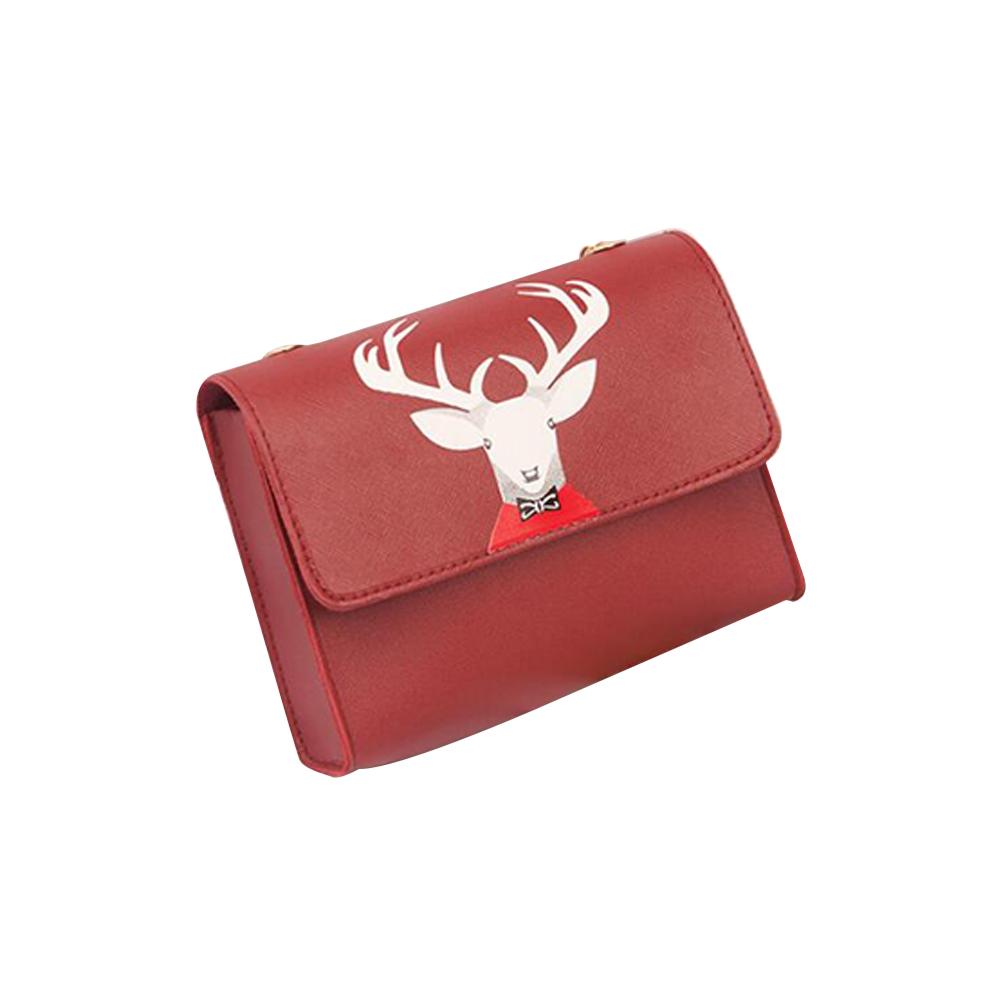 Women Mini Square Bag Satchel Cartoon Deer Head Cross-body PU Leather Cellphone Chain Bag red