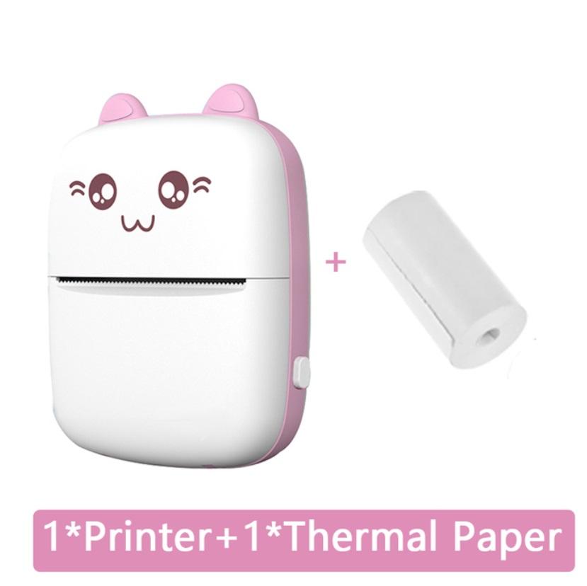 Mini Thermal  Printer Portable Wireless Bluetooth-compatible 200dpi Label Printer Memo Problem Printer pink