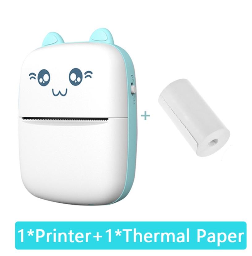 Mini Thermal  Printer Portable Wireless Bluetooth-compatible 200dpi Label Printer Memo Problem Printer blue