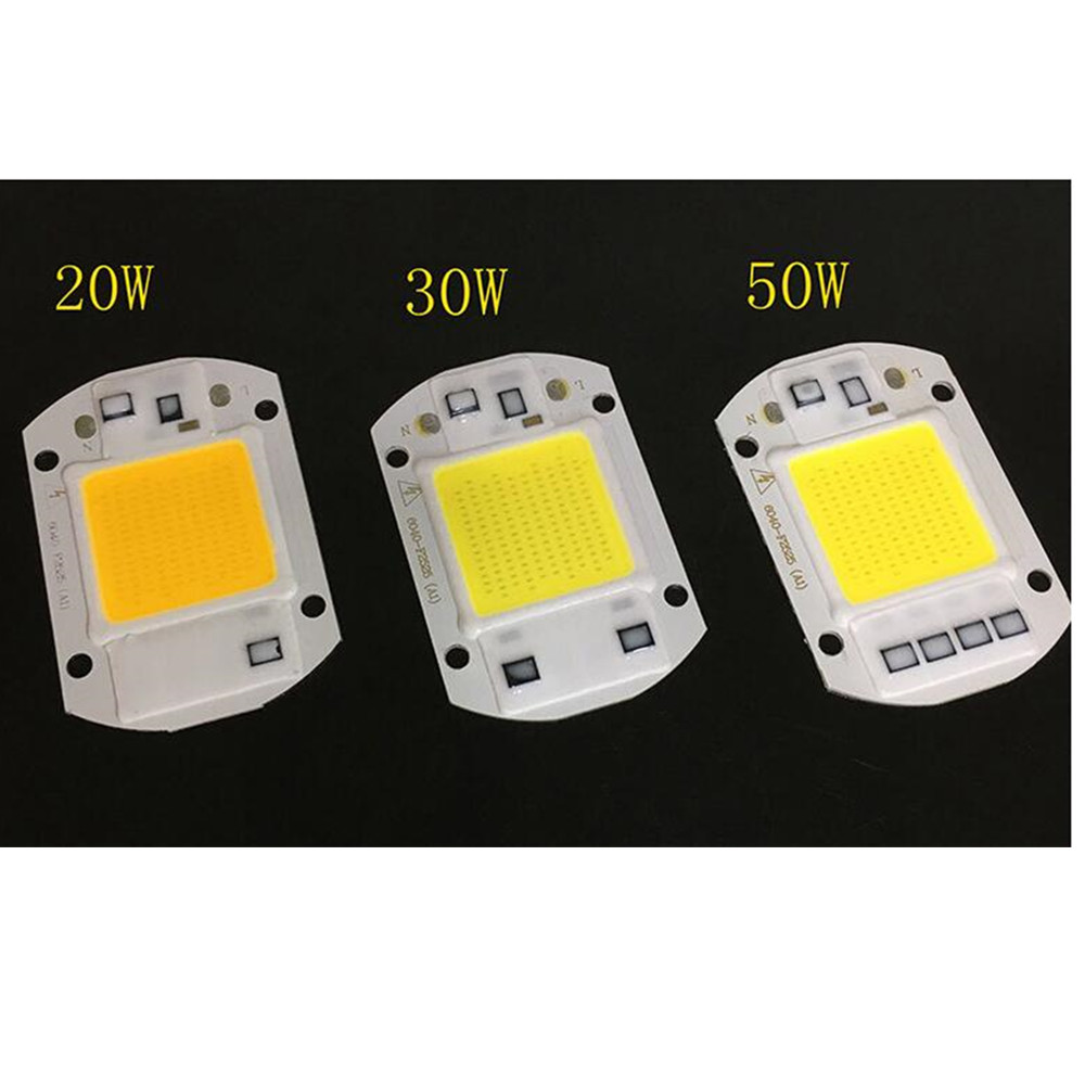 220V LED Floodlight 20W/30W/50W White/Warm Light COB Chip Integrated Smart IC Driver Lamp White light3020Warm White50