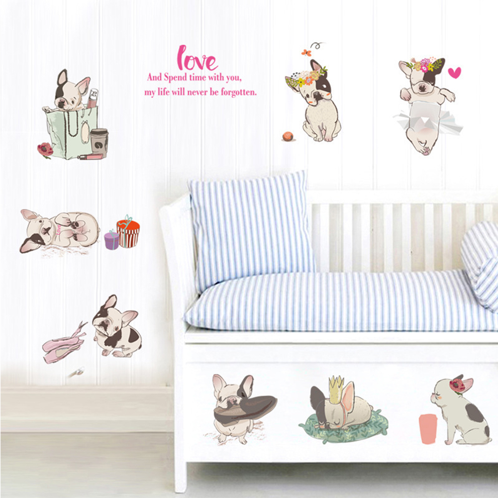 Cute French Bulldog Wall Decal Sticker Removable Stickers Waterproof Mural Decals Room Decors Art Sticker