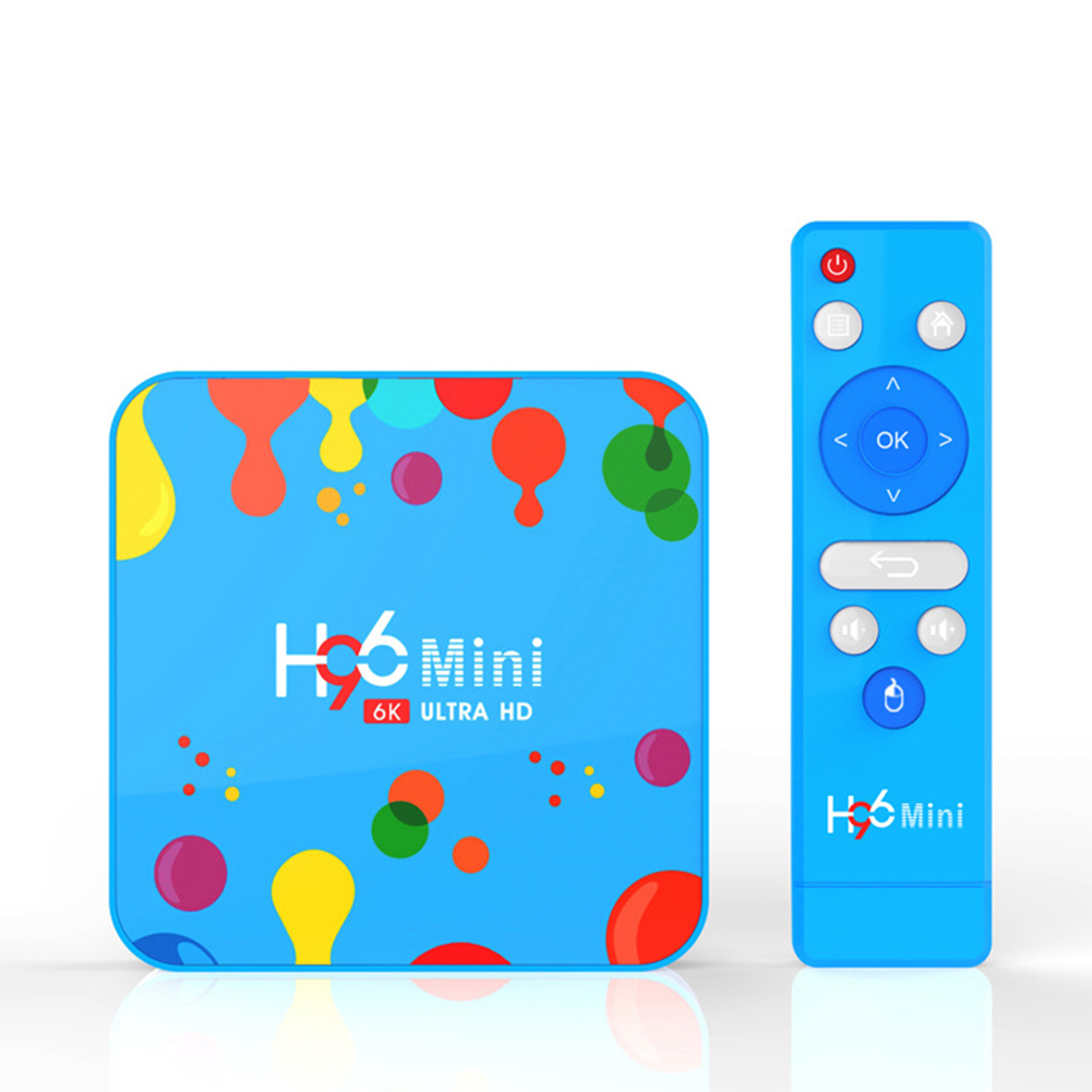 Blue H96 Mini H6 TV BOX Network Player Android 9.0 4GB+128GB 6K TV Box with Remote Control blue