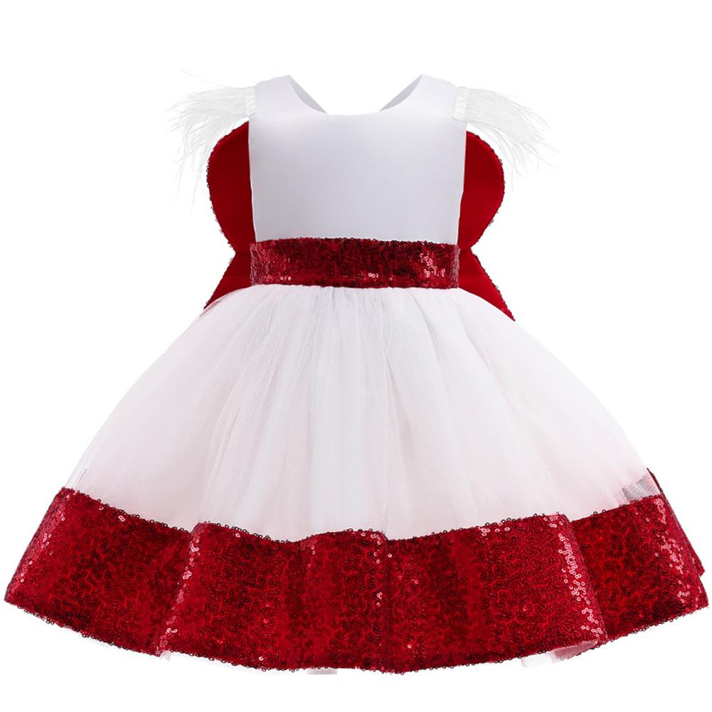 Girls Dress Christmas Sleeveless Bowknot Net Yarn Dress for 3-6 Years Old Kids red_100cm
