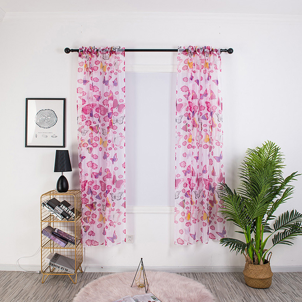 1PC 100*200cm Butterfly Printing Curtain Breathable Transmitting Drapes for Curtain Pole Style Rose red_1 * 2 meters high (90G)