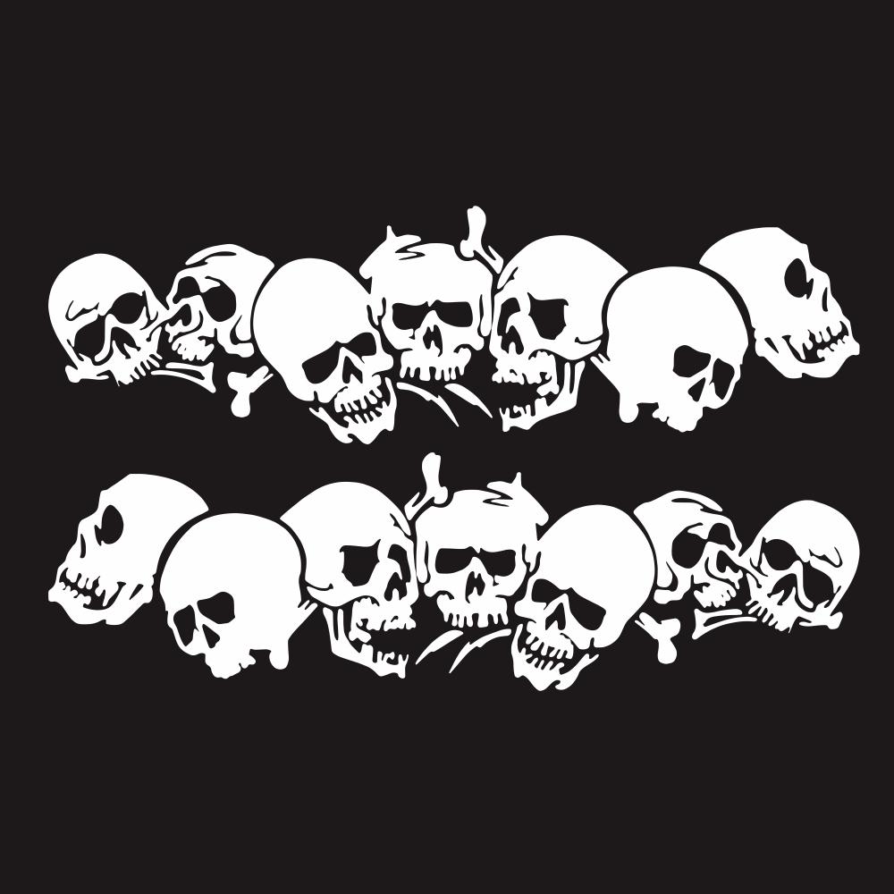 Skulls Bones Pattern Car Truck Vinyl Side Body Graphics Stickers Scratch Decal white