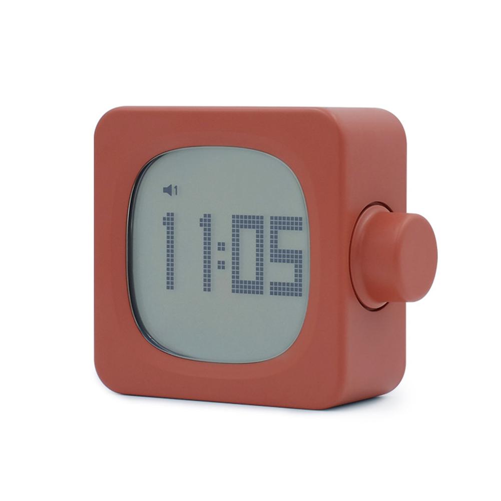 Multifunctional Square Alarm  Clock Night Light Rechargeable Led Mini Alarm Clock Orange
