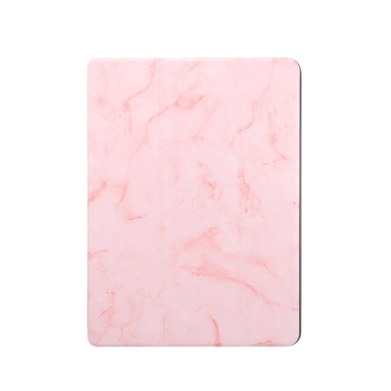 For iPad Pro 10.2 2019 Tablet Cover Marbling Pattern PU Leather Pen Loops Anti-fall Anti-scrach Anti-slip Protect Shell Tri-fold Tablet Case pink