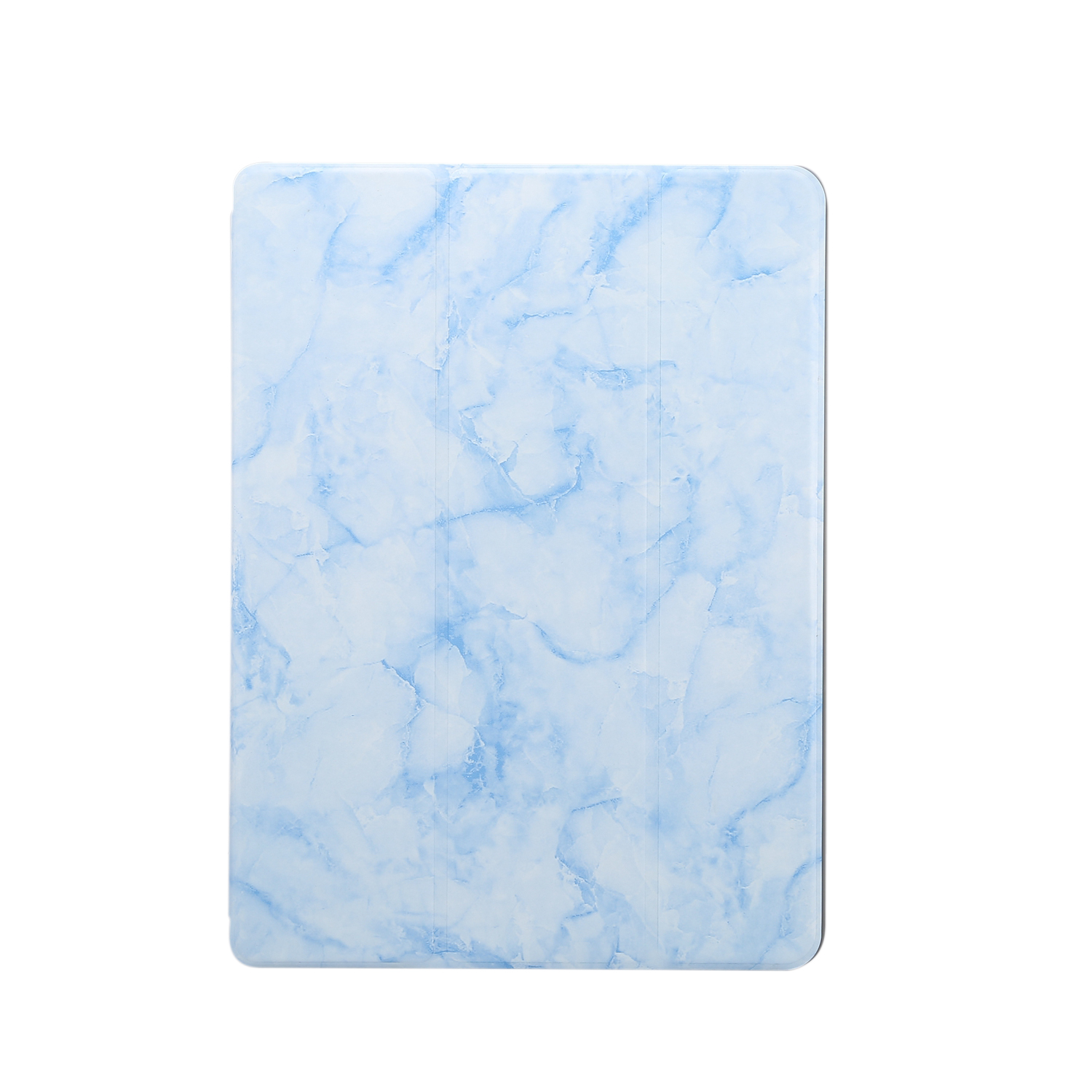 For iPad Pro 10.2 2019 Tablet Cover Marbling Pattern PU Leather Pen Loops Anti-fall Anti-scrach Anti-slip Protect Shell Tri-fold Tablet Case blue