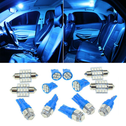 13pcs Led Lights Interior Package Kit Ice Blue Dome Map License Plate Lamp Bulbs Bagged