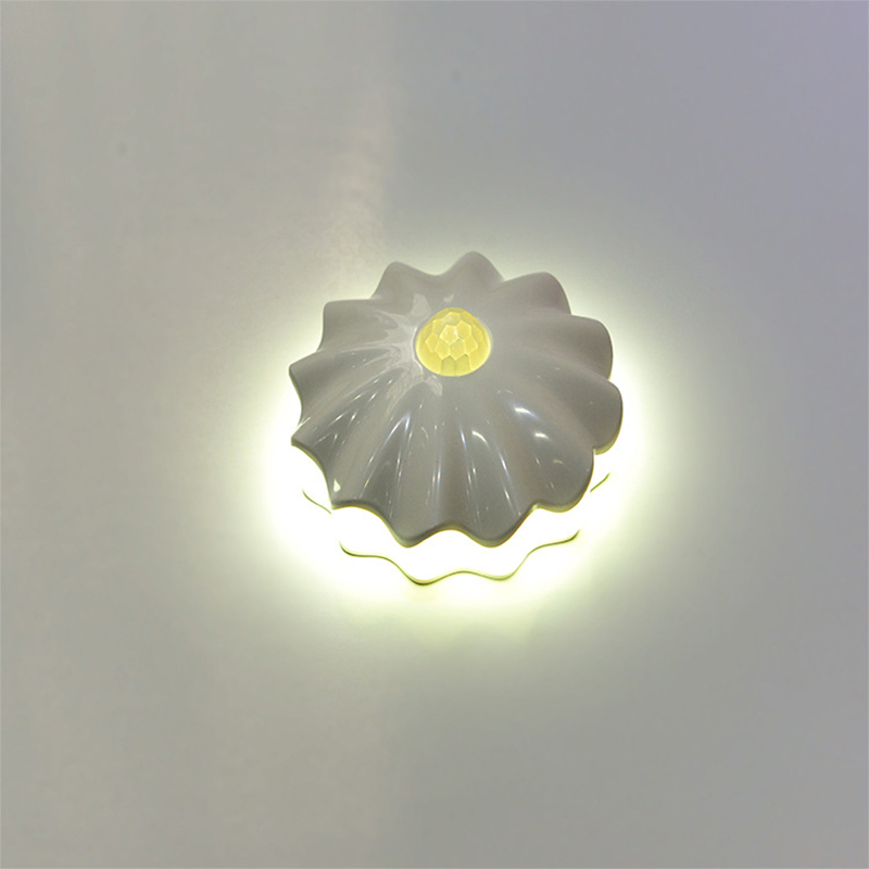 Movement Induction Lamp Shell Shape Corridor Light Wall Lamp Yellow White LED USB Rechargeable or Battery Powered