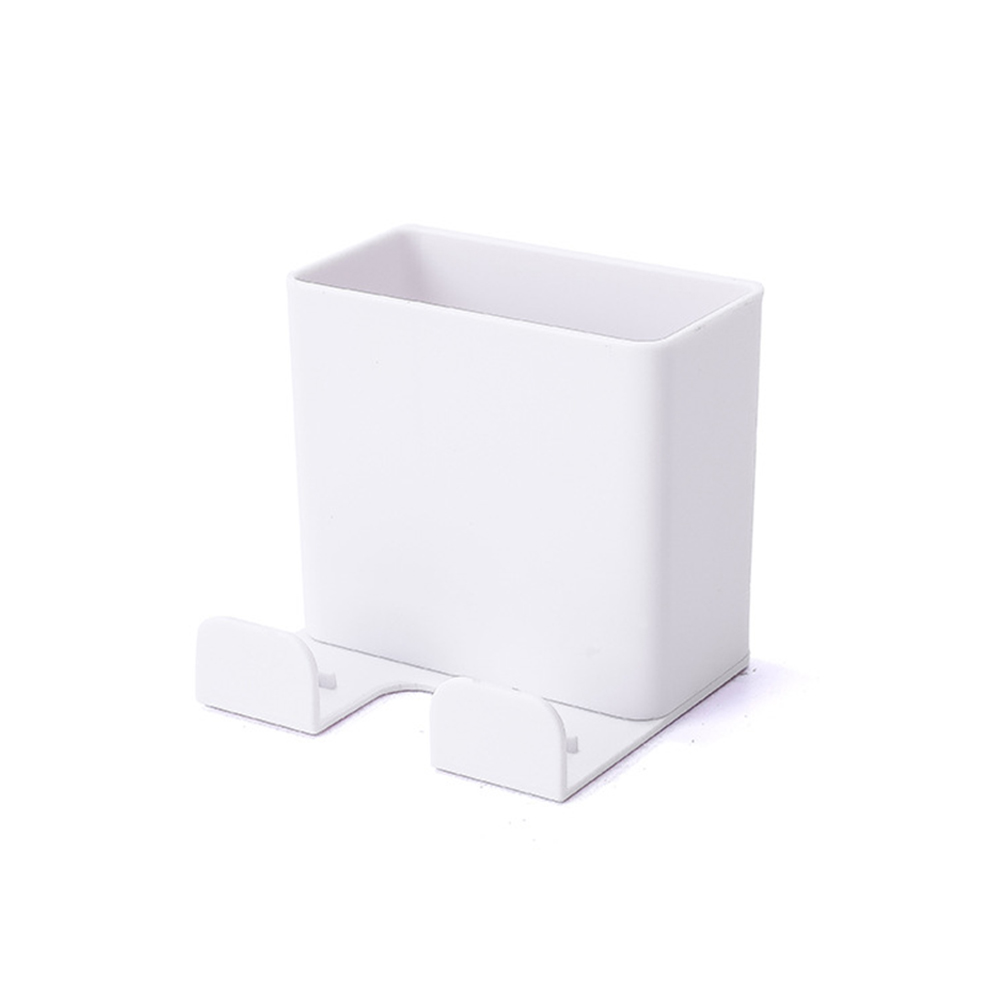 Wall Mounted Organizer Storage Box Remote Control Air Conditioner Storage Case Mobile Phone Plug Holder Stand Container white_6.5X6X6cm