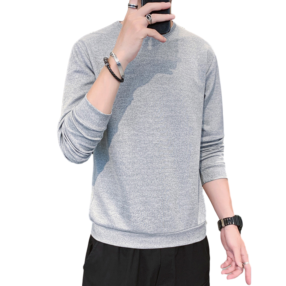 Men's Sweatshirt Round Neck Long-sleeved Solid Color Bottoming Shirt Hemp ash_XXXL