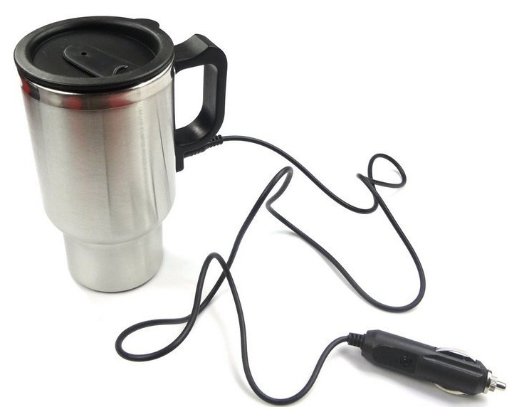 12V Electric Kettle Double Layer Stainless Steel Car Mug Vehicle Thermos Cup Silver