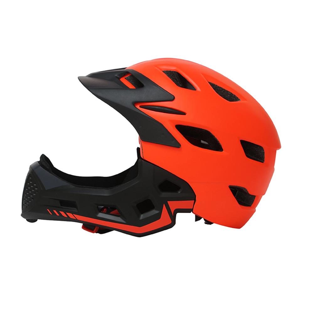 Full Covered Kid Helmet Balance Bike Children Full Face Helmet  Orange_One size