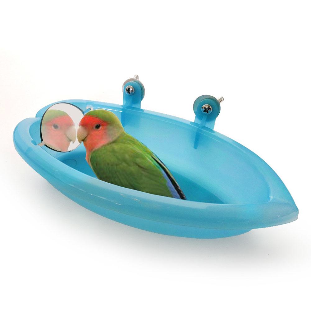 Pet Bath Tub Feeding Box with Mirror for Birds Parrots