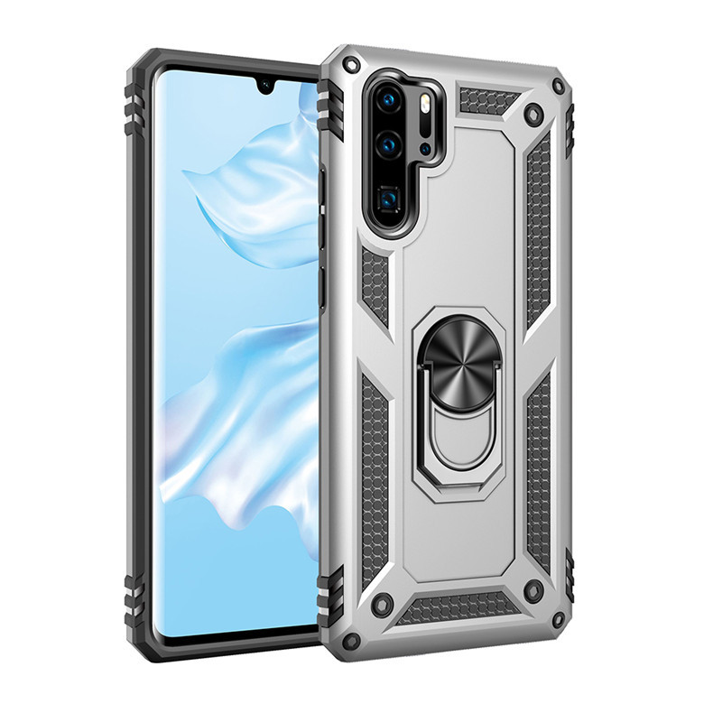 Anti-proof Phone Case Magnetic Car Phone Holder Case Cover for P30 pro Silver_Huawei P30 Lite/Nova 4E