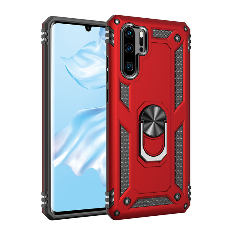 Anti-proof Phone Case Magnetic Car Phone Holder Case Cover for P30 pro red_Huawei P30